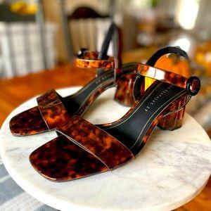 Zara Trafaluca Black & Brown Leopard Print Rubber Chunk Heel Sandals 37